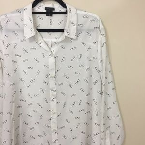Ann Taylor Novelty Glasses Print Button Up Top